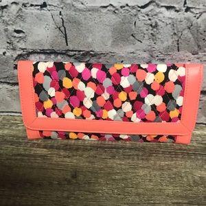 Vera Bradley coral polka dot magnetic clutch walle